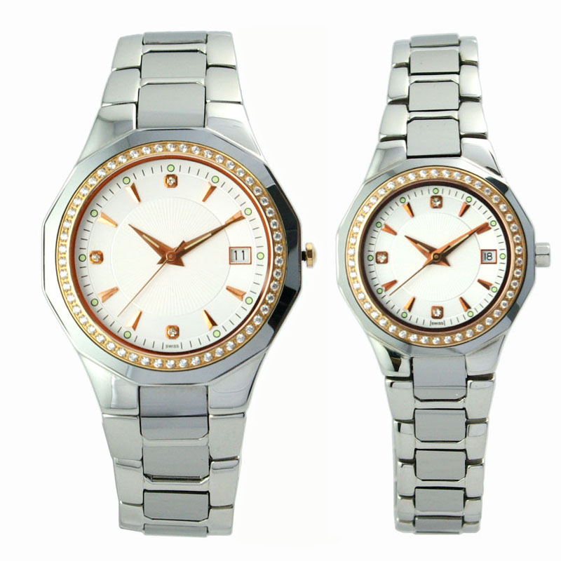 Stainless Steel & Tungsten Steel Couple Watch