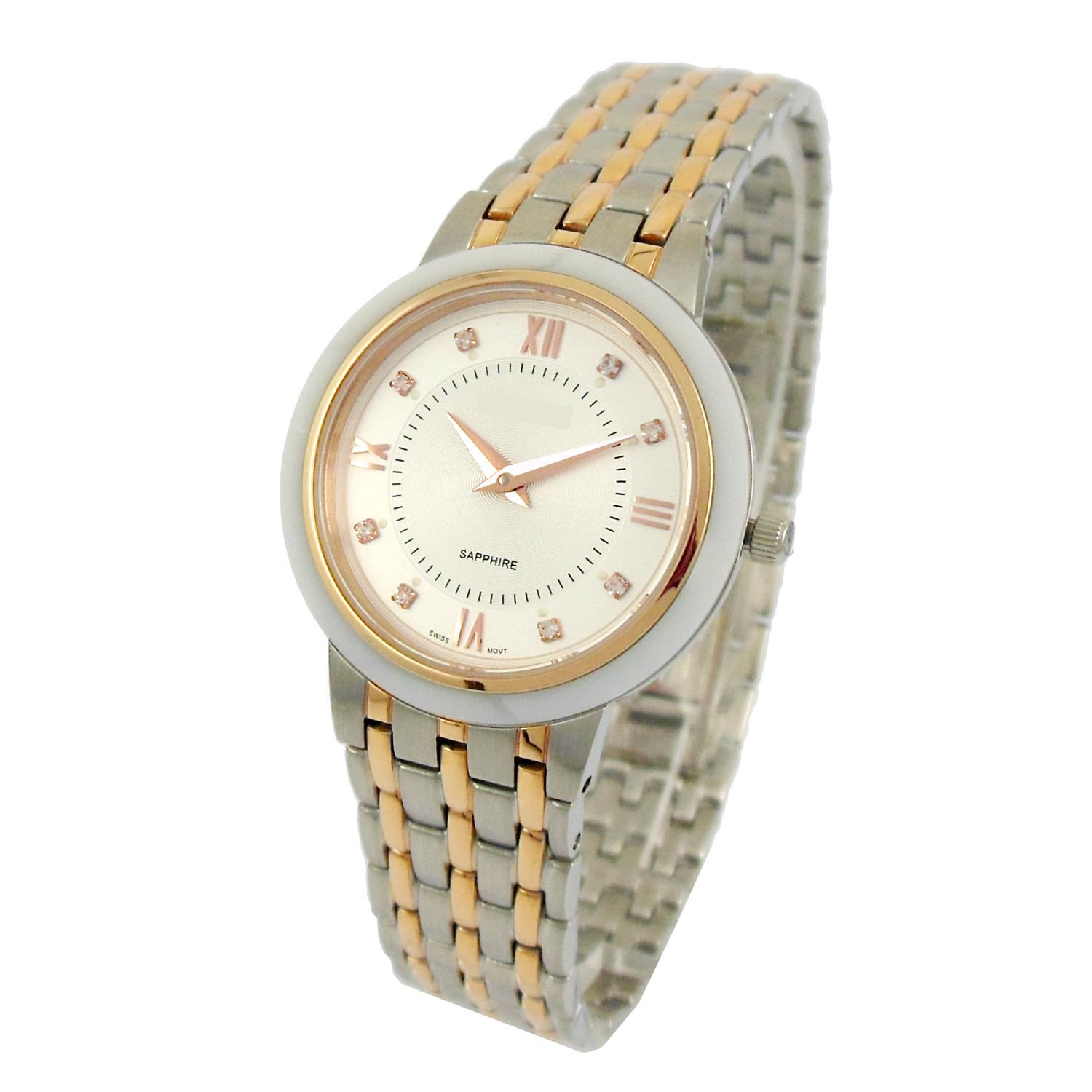 Two-tone luminous stainless steel watch