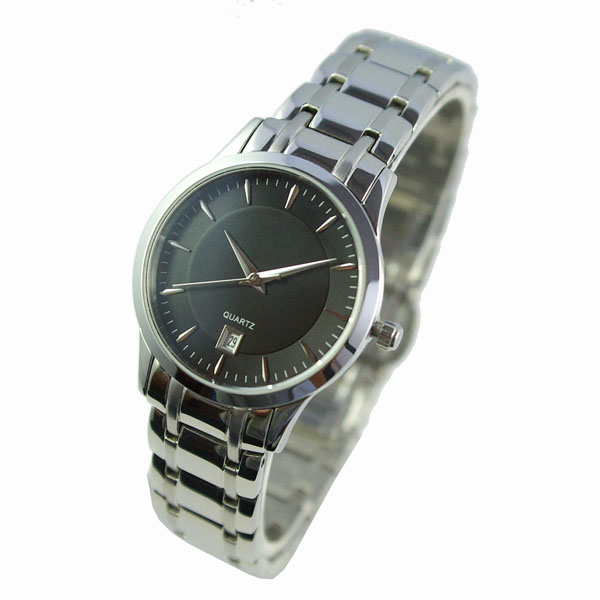 Classic Black Dial Stainless Steel Watch
