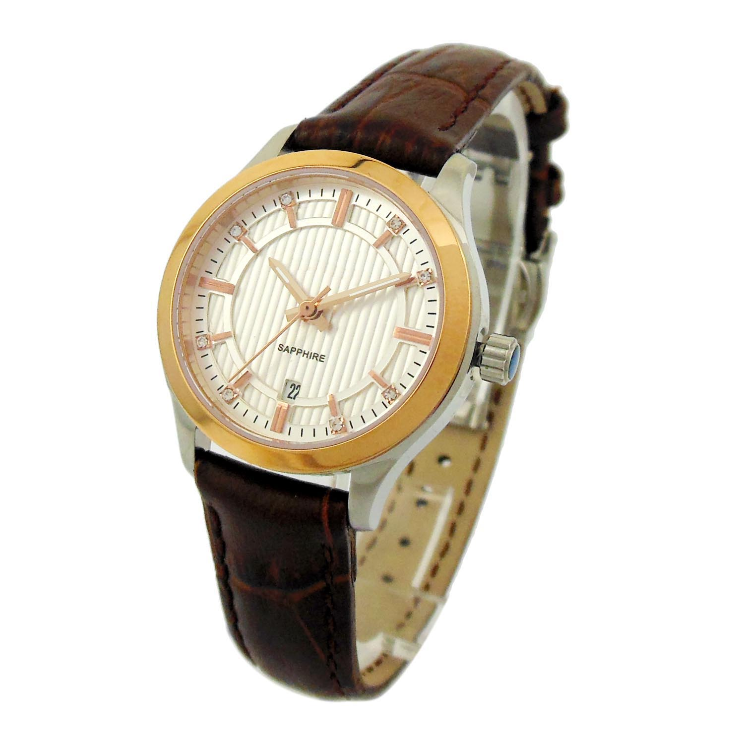 Stainless Steel Lady Watch With Genuine Leather