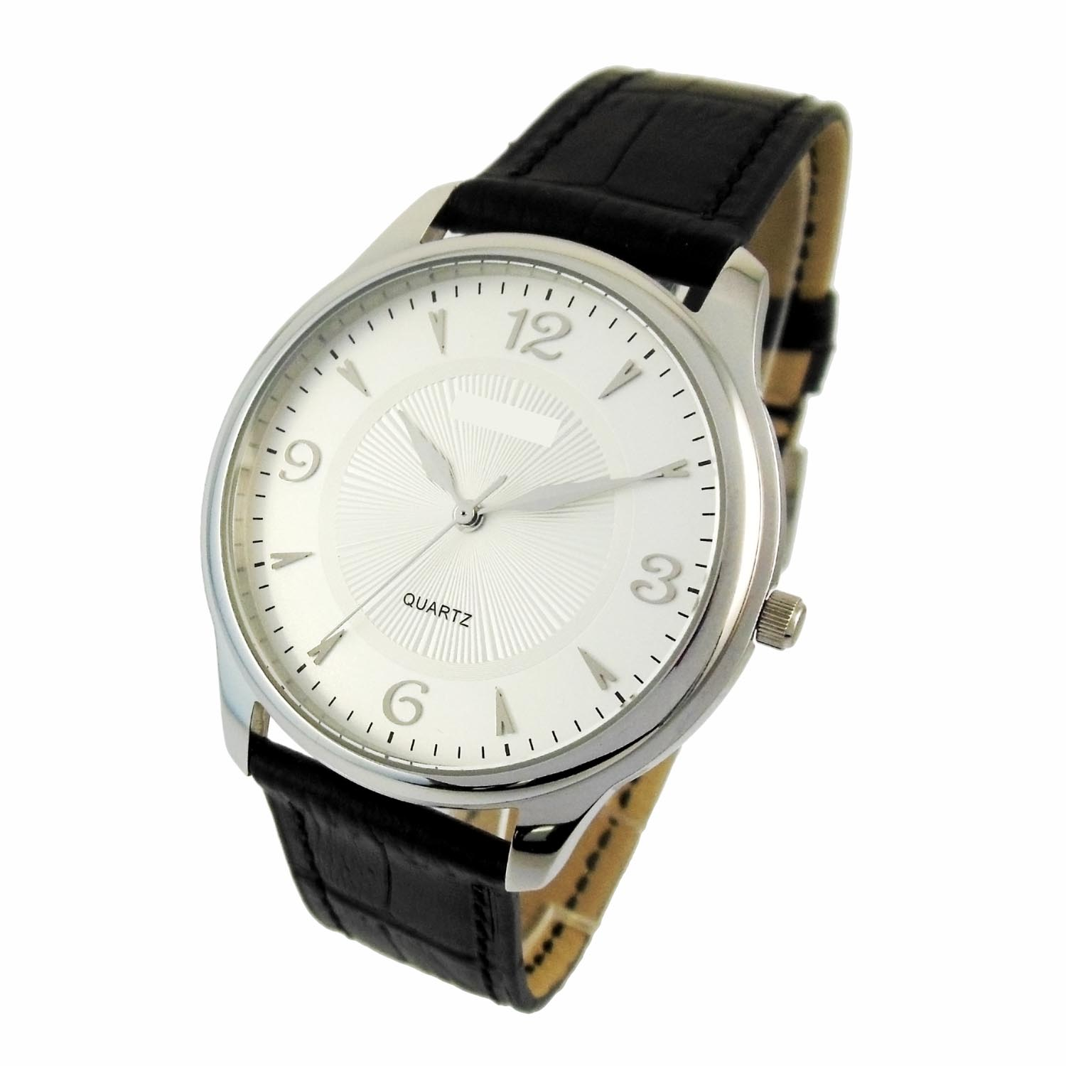 Steel Color Debossed Dial Men Watch