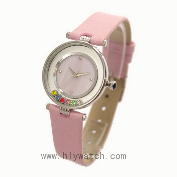 Leather Strap Promotional Lady Watch with rotational crystal on dial