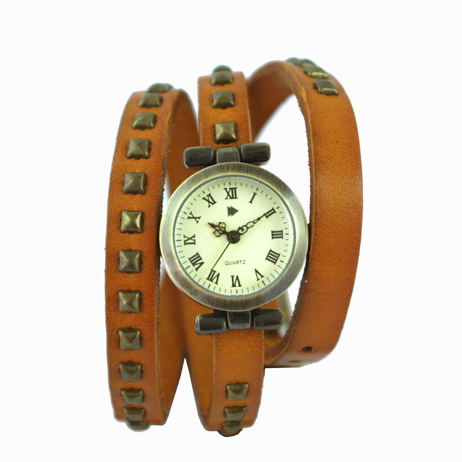 Gun Color Case Vintage Leather Band Ladies Watch