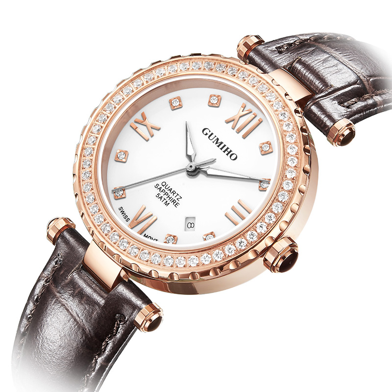 Lady Mechanical Watch With Swiss Movt And Leather Calf Strap