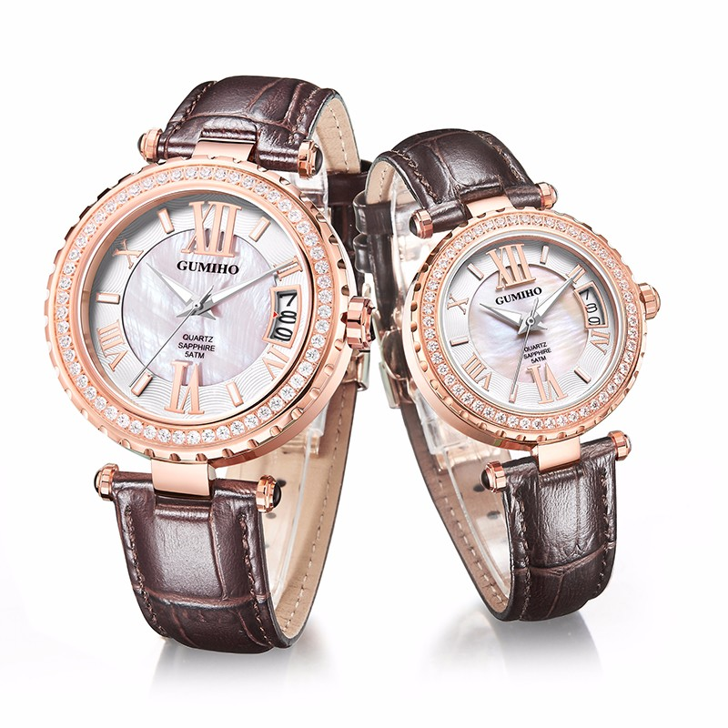 Leather Strap Couple Watch With Japan Movt
