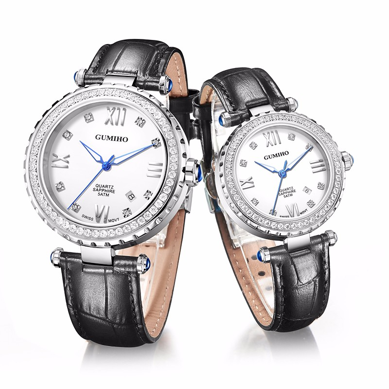Couple Leather Watch With Swiss Movt and Swarovski Stones