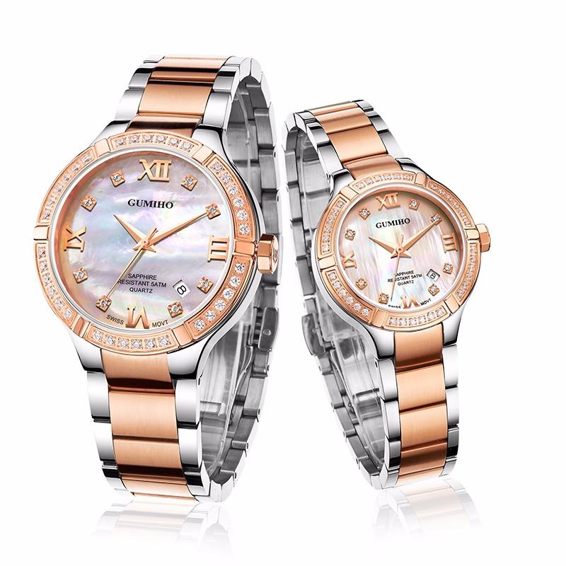 Swiss Mechanical Couple Watch With Swarovski Stones and Sapphire Glass