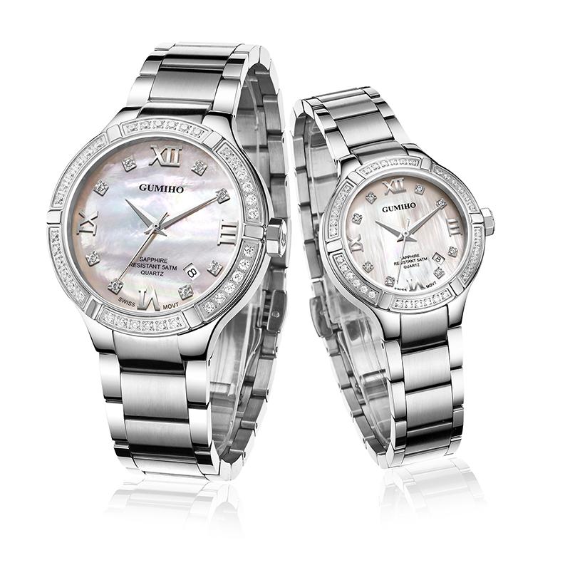 Swarovski Stones Mechanical Couple Watch